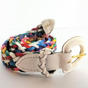 3/$18 CHIC rainbiw braided 100% leather belt